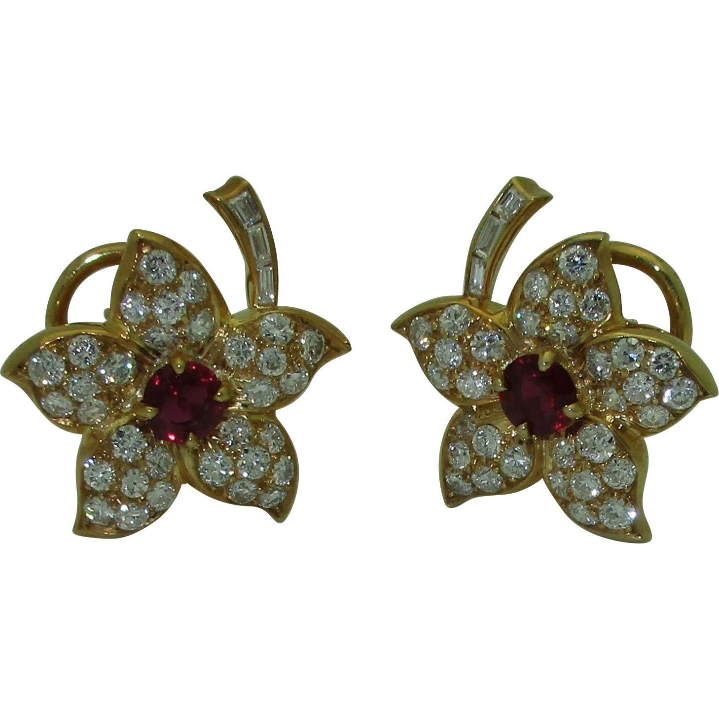 Vintage 18K AGL Ruby Diamond Earrings