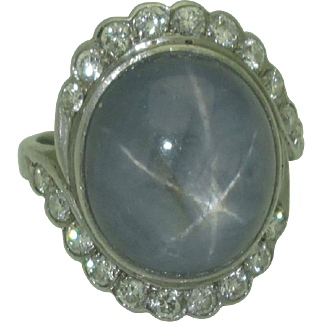 Art Deco Platinum Star Sapphire Ring with Diamonds