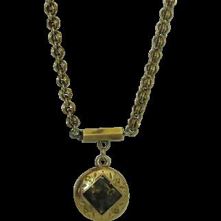 Rare Antique 10K Gold Rush Pendant Necklace