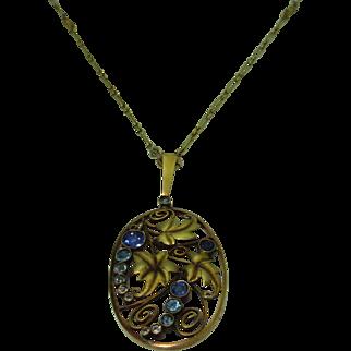 Vintage 14K Austrian Sapphire Pendant