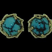 Vintage 14K Retro Turquoise Earrings