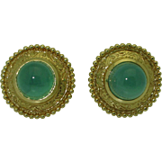 18K Paula Crevoshay Chrysoprase Earrings