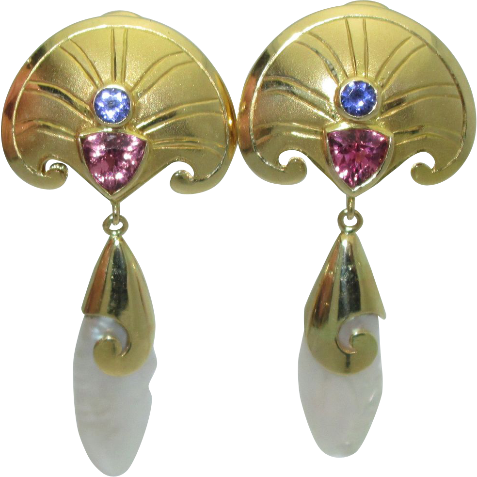 Paula Crevoshay Vintage 18K Gold Earrings