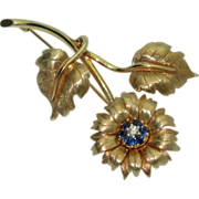 Vintage 14K Sunflower Brooch with Sapphires & Diamond