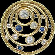 18K Diamond & Sapphire Handmade Pin/Pendant