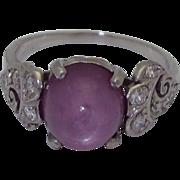 Art Deco Platinum Pink Star Sapphire  Ring