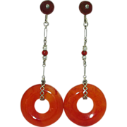 Art Deco 14K Carnelian Earrings