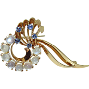Stylish 14K Retro Brooch with Moonstones & Sapphires