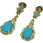 Stunning Natural Turquoise 14K Earrings