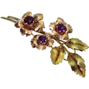 Retro 14K Amethyst Multi-colored Gold Brooch