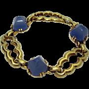 Vintage Retro 14K Gold Chalcedony Bracelet