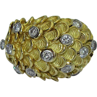 18K Gold & Diamond Dome Ring
