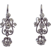 Vintage 14K Victorian Revival Diamond Earrings