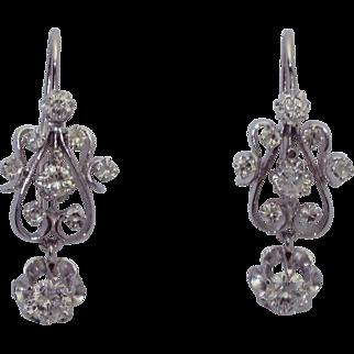 Vintage 14K Victorian Revival Diamond Earrings