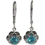 Vintage Retro Natural Blue Zircon Earrings