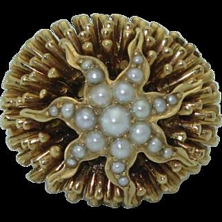 Vintage 18K Sea Urchin Pearl Ring