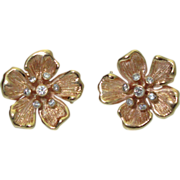 Vintage 14K Flower Earrings with Diamonds