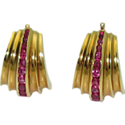 Retro Fluted 18K Ruby Earrings