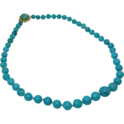 Vintage 14K Genuine Turquoise Bead Necklace