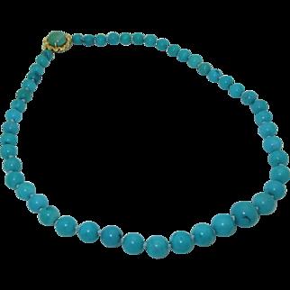 Vintage 14K Genuine Turquoise Bead Necklace