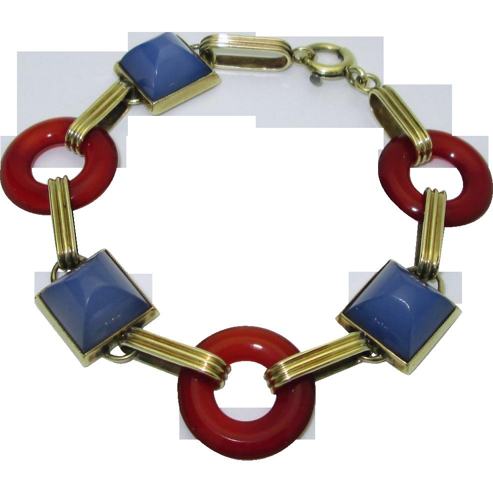 Vintage Retro 14K Chalcedony & Carnelian Bracelet
