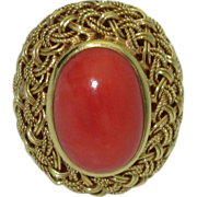 Vintage Handmade Untreated Coral 18K Ring