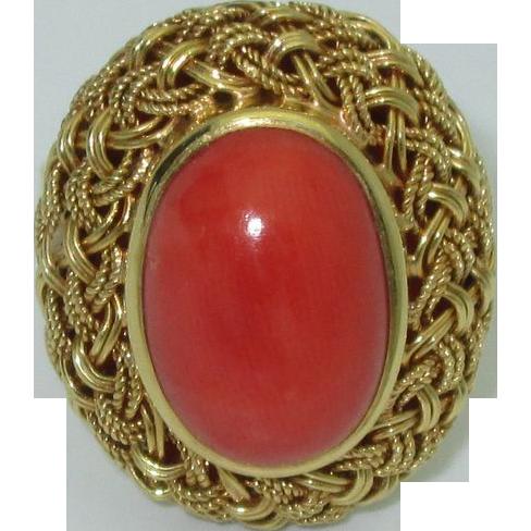Vintage Handmade Untreated Coral 18K Ring