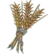 Lovely 18K Gold Wheat Brooch C.1940's
