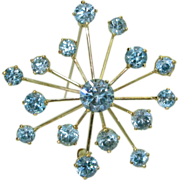 18K Blue Zircon Retro Brooch