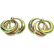 Retro Tri-Color 14k/18K Earrings