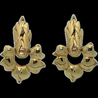 Rare Retro 14K Gold Pendant Earrings