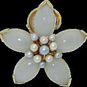 Vintage 14K Jade Cultured Pearl Ming's Brooch