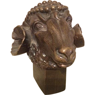 19th Century Bronze Rams Head Paperweight