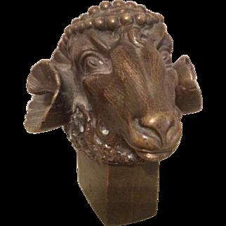 19th Century Bronze Rams Head Paperweight