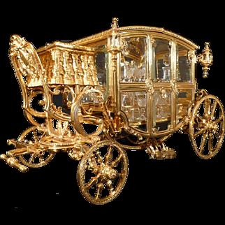 Gilt Bronze Tantalus ( Cave de Liqueur ) in form of a Horse Drawn Carriage, Circa 1890