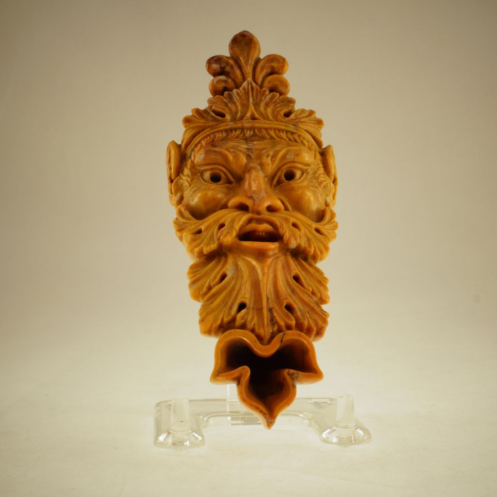Grand Tour Italian Carved Sienna Marble Oil Lamp, Circa 1850