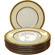 Set (9) Royal Worcester Gold Trim Z409 Dinner Plates