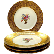Set (4) Chicago Stouffer Studios Gold Encrusted Service Plates