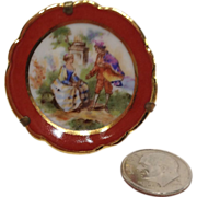 "Tiny Miniature 1 5/8"" Limoges Scenic Plate and Stand"