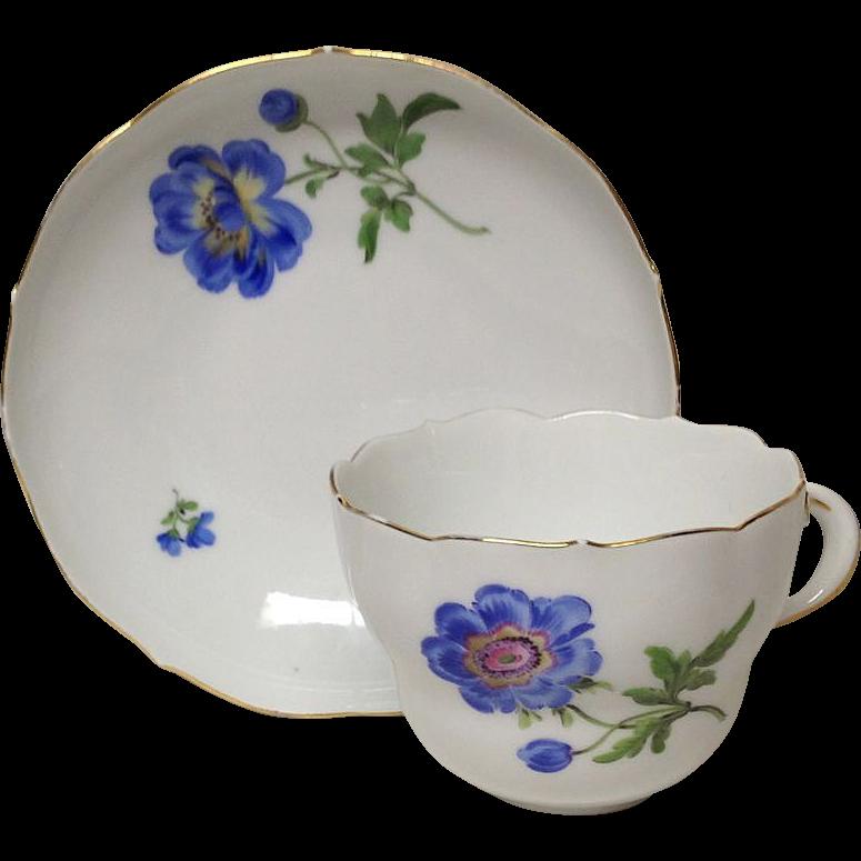 Vintage Meissen Cup & Saucer, Blue Poppy