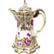 Superb Nippon Raised Gold Encrusted & Roses Choccolate Pot