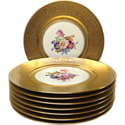 "Set (8) Gold, Floral Pickard 10 3/4"" Service Plates"
