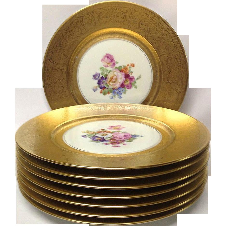 "Set (8) Gold, Floral Pickard 10 3/4"" Service Plates"
