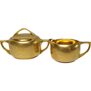 "Pickard Deco ""Plain Encrusted"" Gold Sugar and Creamer Set"