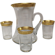 Set Tiffin Minton Unusual Pitcher and Tumblers