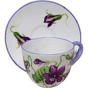 Adoraable Tiny Shelley Minature Cup and Saucer Set Violets