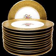 Exceptional Set (12) Heinrich Bavarian Gold Encrusted Service Plates
