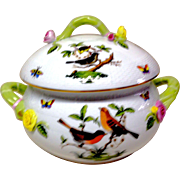 Superb Herend Rothschild Bird Round Covered Vegetable