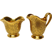 Pickard China Rose & Daisy Gold Sugar & Creamer Set
