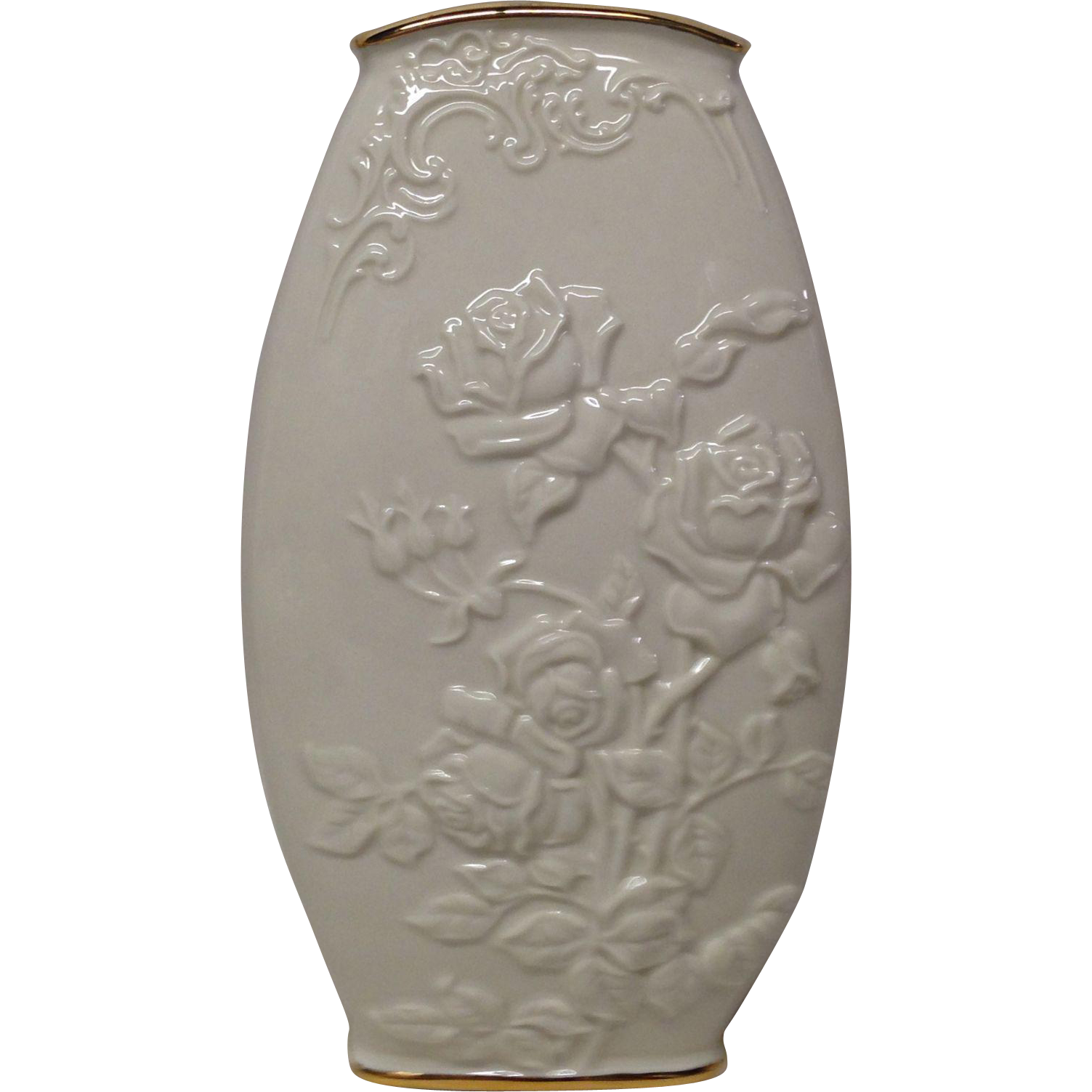 Lovely lenox vase with embossed roses and leaves grandview fine lovely lenox vase with embossed roses and leaves grandview fine tableware ruby lane reviewsmspy